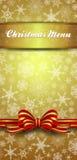Invitación de los copos de nieve del menú de la Navidad Imagenes de archivo