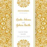 Invitación de lujo de la boda del vector con la mandala Fotografía de archivo libre de regalías