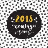 Invitación del Año Nuevo 2018 años que vienen pronto Fotos de archivo