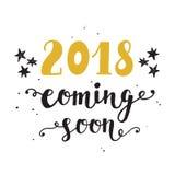 Invitación del Año Nuevo 2018 años que vienen pronto Foto de archivo libre de regalías
