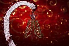 Invitación del Año Nuevo Imagen de la Navidad con un juguete del árbol de navidad Artes del ` s del Año Nuevo Imagenes de archivo