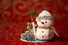 Invitación del Año Nuevo Muñeco de nieve del juguete Foto de archivo