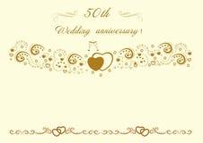 a invitación del aniversario de boda de oro Vector editable hermoso IL fotos de archivo libres de regalías