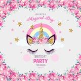 Invitación del cumpleaños con unicornio stock de ilustración