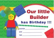 Invitación del cumpleaños de Lego Imágenes de archivo libres de regalías