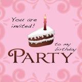 Invitación del cumpleaños del partido Fotos de archivo
