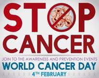 Invitación del día del cáncer del mundo a unirse a la conciencia contra el cáncer, ejemplo del vector Foto de archivo libre de regalías