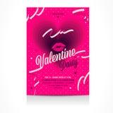 Invitación del día del ` s de la tarjeta del día de San Valentín al aviador del club nocturno Imagen de archivo libre de regalías