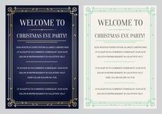 Invitación del estilo de Gatsby en Art Deco o cuadrilla de los años 20 de la época de Nouveau Imágenes de archivo libres de regalías