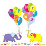Invitación del feliz cumpleaños con los elefantes y los globos de la historieta Imágenes de archivo libres de regalías