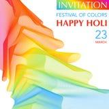 Invitación del festival de Holi con el arco iris Imagenes de archivo