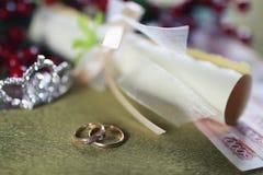 Invitación del fondo del anillo de bodas Foto de archivo libre de regalías