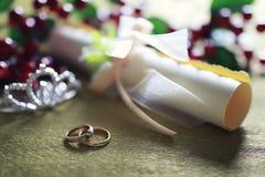 Invitación del fondo del anillo de bodas Fotografía de archivo libre de regalías