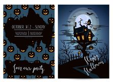 Invitación del partido de Halloween fijada con el castillo fantasmagórico Foto de archivo libre de regalías