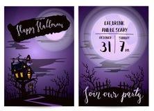 Invitación del partido de Halloween fijada con el castillo fantasmagórico Foto de archivo