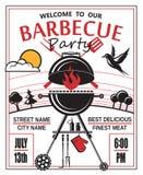 Invitación del partido de la barbacoa Fotografía de archivo