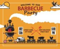 Invitación del partido de la barbacoa Imagenes de archivo
