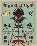Invitación del partido de la barbacoa Fotos de archivo
