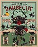 Invitación del partido de la barbacoa Imágenes de archivo libres de regalías
