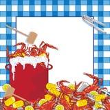 Invitación del partido de la ebullición del cangrejo. fotografía de archivo