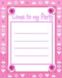 Invitación del partido de la muchacha Imagenes de archivo