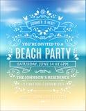 Invitación del partido de la playa Imagenes de archivo