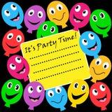 Invitación del partido de los globos Imagen de archivo libre de regalías