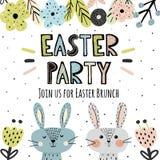 Invitaci?n del partido de Pascua con los conejitos lindos stock de ilustración