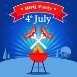 Invitación del partido del Bbq Fotografía de archivo