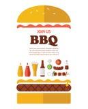 Invitación del partido del Bbq diseñado como hamburguesa Imagen de archivo