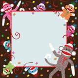 Invitación del partido del mono del calcetín Foto de archivo libre de regalías