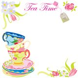 Invitación del partido del tiempo del té. ilustración del vector