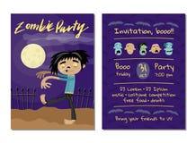 Invitación del partido del zombi con el hombre muerto que camina Imagenes de archivo