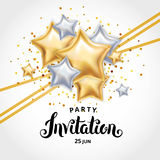 Invitación del ramo del globo del oro de la estrella stock de ilustración