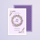 Invitación del vector con las flores hechas a mano de la lavanda Colección moderna de la boda Gracias cardar, ahorre las tarjetas Imagen de archivo