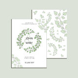 Invitación del vector con las hojas verdes Colección moderna de la boda Gracias cardar, ahorre las tarjetas de fecha, menú, bande Imagen de archivo