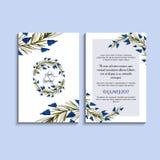 Invitación del vector con los elementos florales hechos a mano Colección moderna de la boda Gracias cardar, ahorre las tarjetas d Imagenes de archivo