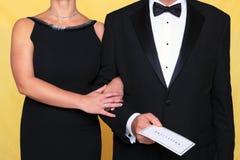 Invitación del vestido de noche del lazo negro Imagen de archivo libre de regalías