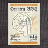 Invitación dibujada mano del vintage del vector en país Foto de archivo