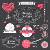 Invitación dibujada mano determinada del vintage de la boda del vector stock de ilustración