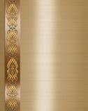 Invitación elegante de la boda del oro de la frontera   Imagen de archivo libre de regalías