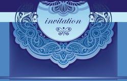 Invitación en azul. Fondo del vector para la ensenada Fotografía de archivo libre de regalías