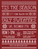 Invitación fea del partido del suéter de la Navidad Fotografía de archivo libre de regalías