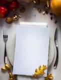 Invitación feliz de la cena del día de la acción de gracias del arte Fotos de archivo