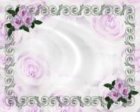 Invitación floral de la boda de la frontera de las rosas de la lavanda Fotografía de archivo libre de regalías