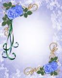 Invitación floral de la frontera de las rosas azules stock de ilustración