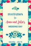 Invitación floral para el día de boda o cualquier otra celebración Flores rojas, azules, verdes y amarillas colocadas aleatoriame Foto de archivo libre de regalías