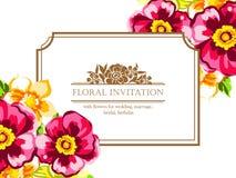 Invitación floral romántica Fotografía de archivo