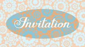 Invitación, fondo floral, beige y azul, vector, inglés Fotografía de archivo
