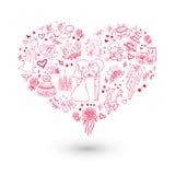 Invitación grande de la boda del corazón ilustración del vector